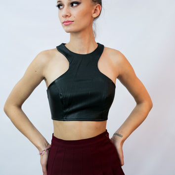 """Noir"" Faux Leather Crop"