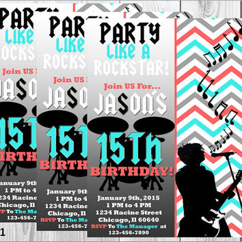 Rock Star Party Invitation/ Music Party Invitation/Rock Star Birthday/Sweet 16/ Sweet 15/Rock Star Invite/Printable/Digital Invitation