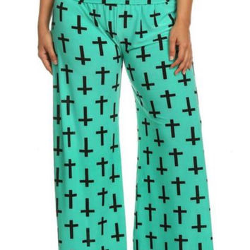 Cross Design Palazzo Pants