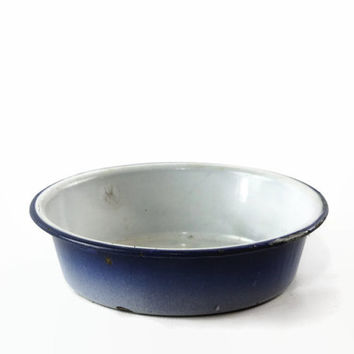 Vintage Enamel Dish, Enamelware Wash Basin, Ombre Blue Enamel Bowl, French Country Farmhouse