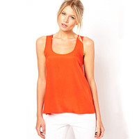 SIMPLE - Women Loose Red Sexy Round Necked Women Tank Top a10789