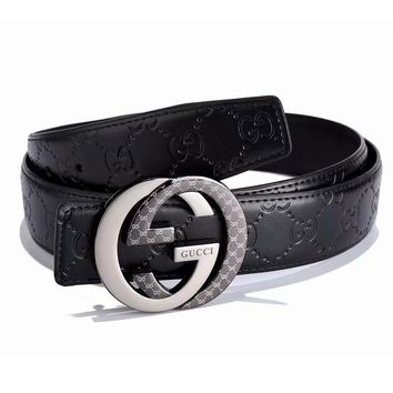 GUCCI Fashion New Letter Buckle More Letter Lather Women Men Belt Width 3CM Black