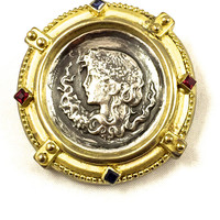 Ancient Roman Coin Brooch, 10k Gold, Yellow Gold, Sterling Silver, Neo Classical, Red And Blue Crystal stones, 1800s Antique, Gift For Her