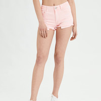 AE Denim X High-Waisted Shortie, Neon Coral