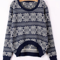 A 072906 Retro snowflake striped sweater loose
