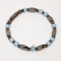 Magnetic Bracelet 3X Power Black Twist Beads Baby Blue Pearlized 5000 Gauss Clasp