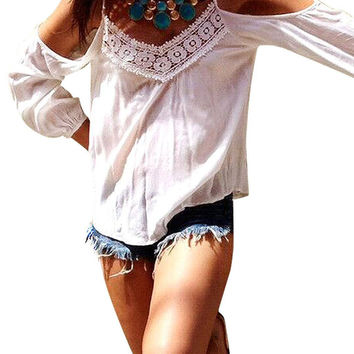 White Cold Shoulder Crochet Lace Detail Long Sleeve Blouse