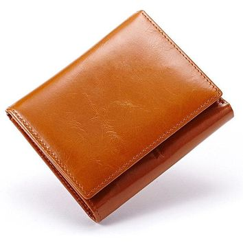 Men And Women Trifold Oil Wax 8 Card Slot Wallet