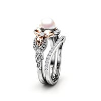 Pearl Engagement Ring Set White Gold Ring Flower Engagement Ring Gold Pearl Ring