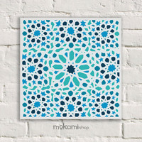 "Canvas print Ready to hang Blue ARABIC MOSAIC Art Canvas, Art Wall Decor, Bedroom Painting, Home Decor , Art Home & Living Room 7.8""x7.8"""