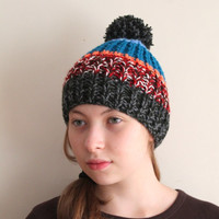 Winter fashion beanie. Pom pom women hat. Ski multicolor beret, ready to shipping.