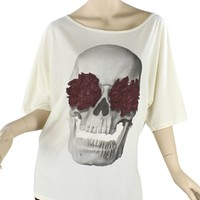 Skull Rose Frenchy Top Antique White