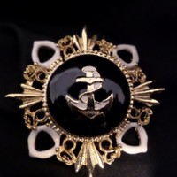 Vintage Gold-tone Black & White Enamel Nautical Brooch #1282