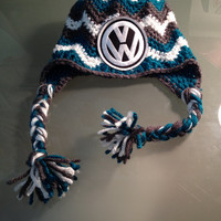 Chevron Pattern Beanie with VW Logo - Any Size Available, Color or Logo