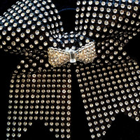 Black & Silver Bling Rhinestone Cheer Bow with Bow Center
