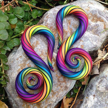 Rainbow Swans - Earrings for Stretched Lobes - Gauges