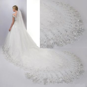 4M Luxury 1T Cathedral wedding Veil lace Sequins Long white Veil +comb