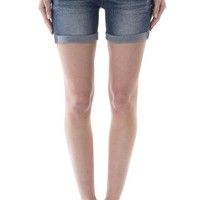 WallFlower Juniors Luscious Curvy Belted Mid Thigh Denim Shorts