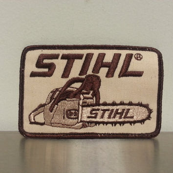 Vintage 70's Stihl Chainsaw Brown Patch Woodsman Hunter Hat Cap Outdoors Hipster Style Craft