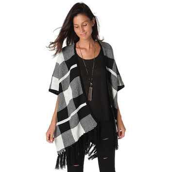 Check fringe detail cape