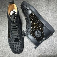 Cl Christian Louboutin Lou Spikes Style #2198 Sneakers Fashion Shoes