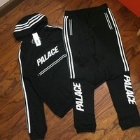 ca kuyou HOT PALACE Unisex Men's Cotton Sports Style Stripe Hoodies Pants Suits Outfits