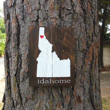 "Joyful Island Creations ""Idahome"" wood sign, idaho silhouette, state sign, reclaimed wood sign, gifts under 25"