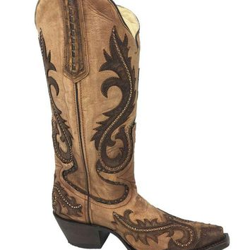 LMFYW3 Corral Women's Brown Overlay and Studs Snip Toe Boots G1403