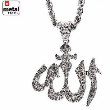 """Jewelry Kay style Men's Silver Plated Iced Out Allah Sign Pendant 30"""" 5mm Rope Chain Set HC 5019 S"""