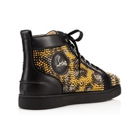 Louis Spikes Leo Men's Flat Version Leopard Leather - Men Shoes - Christian Louboutin