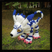 Digimon Inspired: Garurumon Amigurumi (Crocheted Plushie/Plush Toy) - Stands on his own, with pose-able tail!