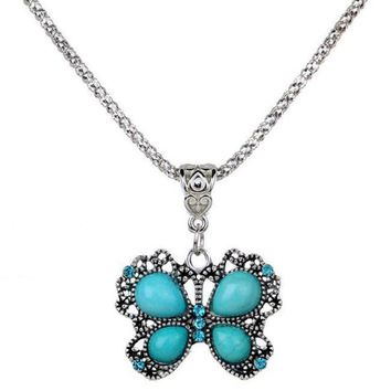 Vintage Butterfly Turquoise Necklace Delicate Carved Hollow Necklace