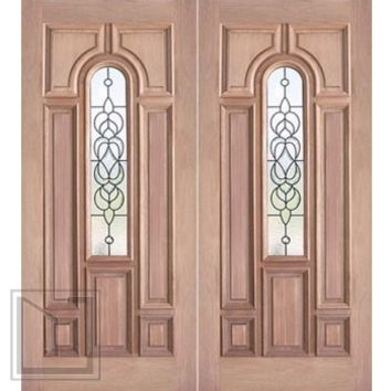 Decorative Center Arch Lite, Prehung Mahogany Double Entry Door, 72x80