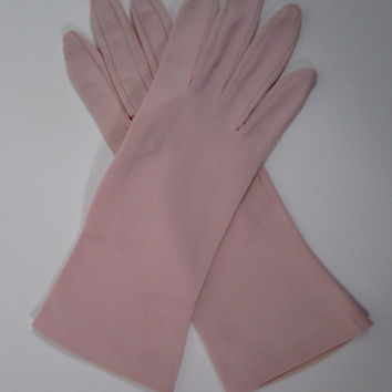 7-Vintage Pink Dress/Church/Prom/Opera Gloves- 10 inches long(443g)