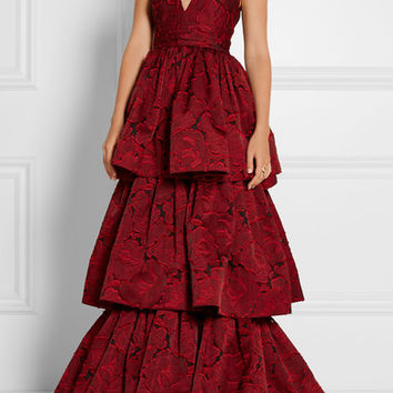 Marchesa - Tiered fil coupé organza gown