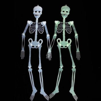 DCCKH6B 2set/lot Scary Halloween Skeleton Decoration Glow In Dark Halloween Props Decoration Haunted House Mask Costume 30-90-150cm