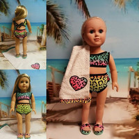 "18 inch doll swimsuit ""Color Me Wild"" (18 inch) Swimsuit bathing suit OOAK towel beach sandals Lee & Pearl Retro Ruffles Swimsuit leopard H7"