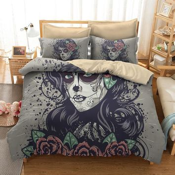 Fanaijia beauty Skull Bedding Sets queen size Sugar skull Duvet Cover Bed cool skull bedline AU US size bed dropshipping