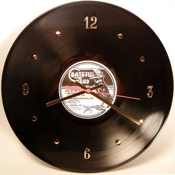 "GRATEFUL DEAD Vinyl Record Wall Clock ""Wake Of The Flood"" by recordsandstuff"