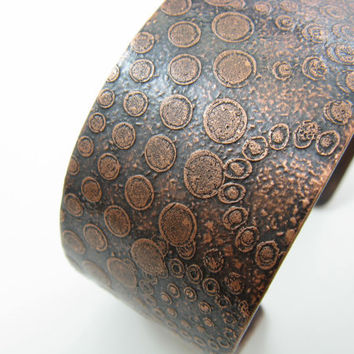 Crop Circles Cuff Spiral Dots Etched Copper Cuff Handmade Metal Jewelry Copper Metal Cuff BooBeads Everyday Jewelry Cuff