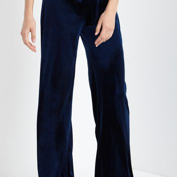Tie Front High Waisted Velvet Pants