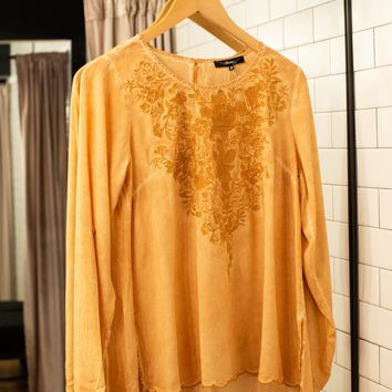 Embroidered Tunic Top, Marigold