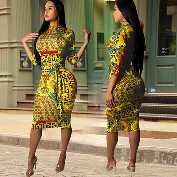 Versace Women Long Sleeve Print Dress  yellow