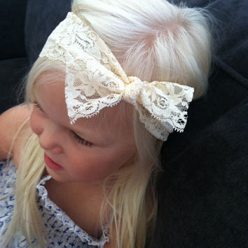 Lace Baby Headband, Lace Baby Turban, Knot Bow Headband, Wide Lace Headband, Ivory Lace headband, Flower girl,