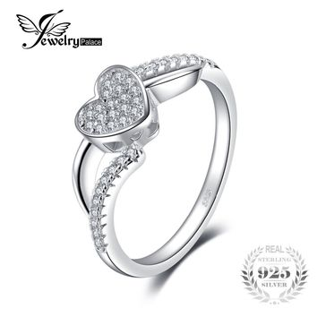 JewelryPalace Sweet Elegance Cubic Zirconia Love 0.18ct Wedding Engagement Ring 925 Sterling Silver Cute Gift for Friend