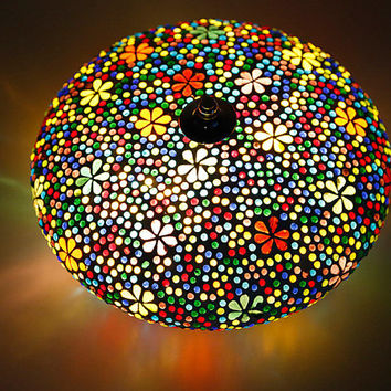 Mosaic ceiling light Ø 25 cm / 9.8 in - multi colour glass mosaic - flower design & beads