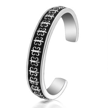 Hot Sale Awesome Stylish New Arrival Gift Great Deal Shiny Vintage Cross Men Titanium Bangle Bracelet [6526716163]