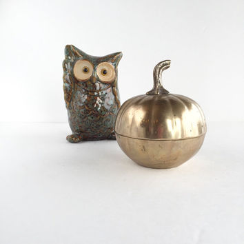 Vintage Brass Pumpkin Dish With Lid