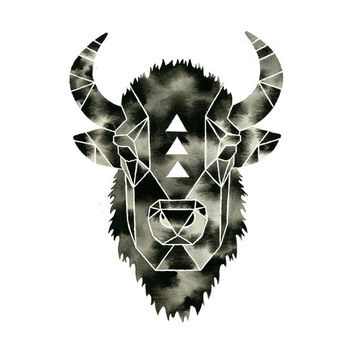 Buffalo Print . Watercolor Bison Buffalo . Geometric Modern Painting . Black White Art . Wildlife Illustration . Triangle Print . Animal Art