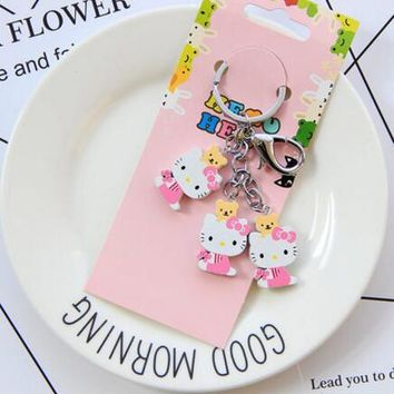 New 10set cartoon pink Hello kitty bears wooden pendant Keychain Key ring kids toy gifts
